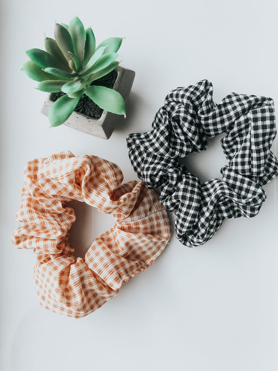 Tiana Plaid Tie Mini Scrunchie - Black