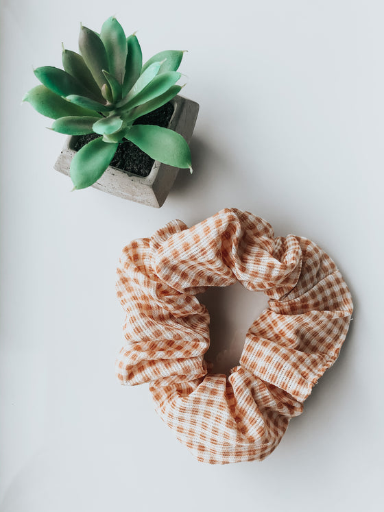 Jayde Gingham Check Scrunchie - Mustard