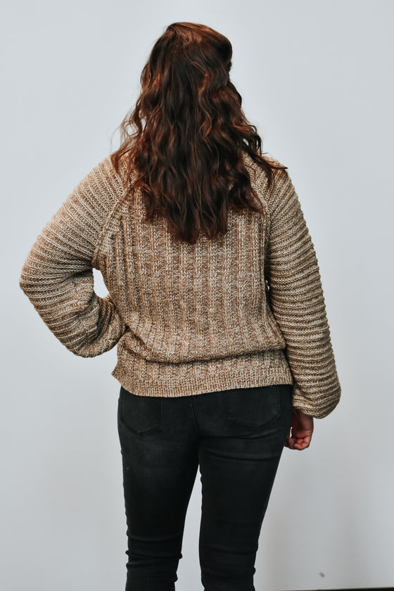 Gracelyn Caramel Cable Knit Sweater