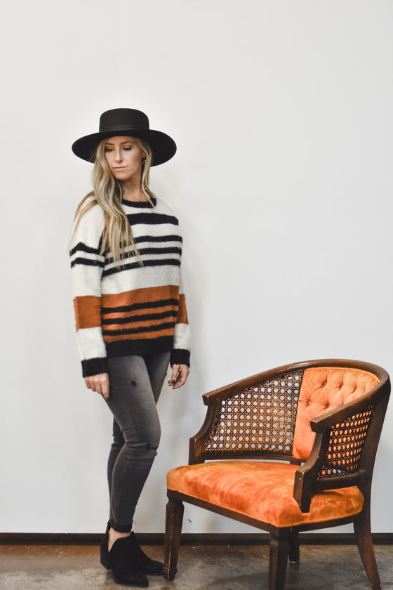 Logan Pumpkin Stripe Sweater
