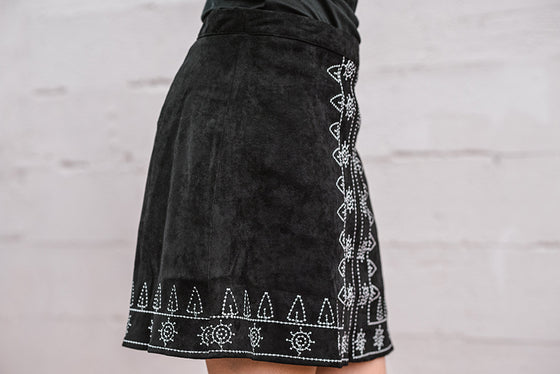 Francesca Embroidered Mini Skirt in Black