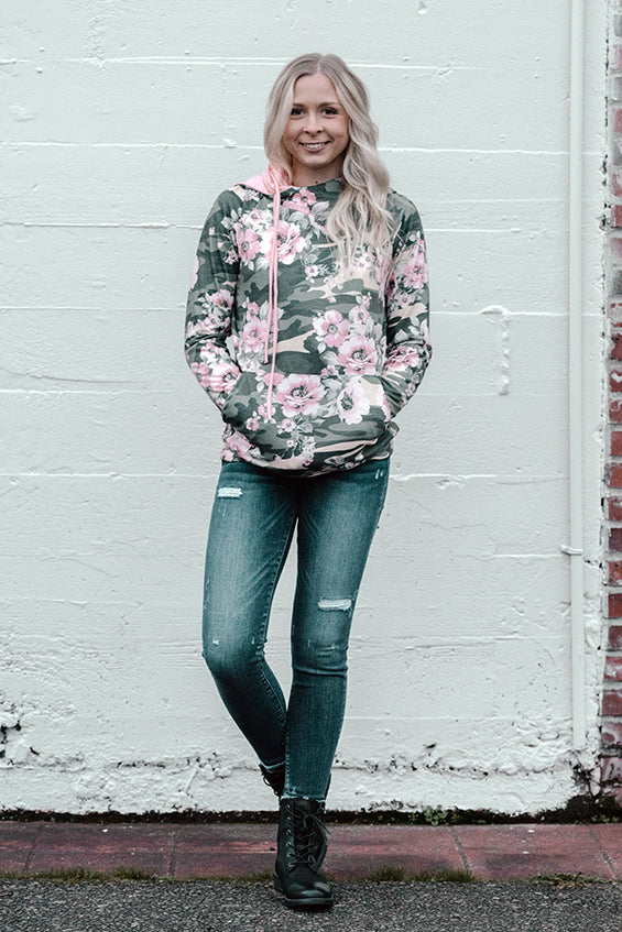 Iliana Floral Camo Hoodie with Pink Cowl Neck