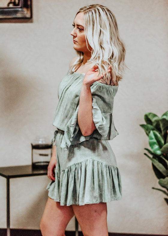 Paisley Olive Off Shoulder Ruffle Romper