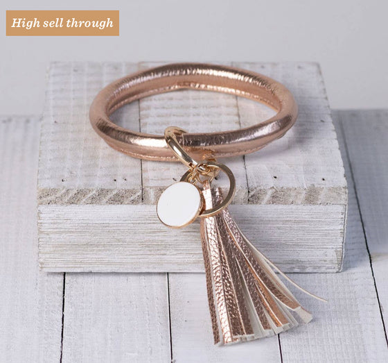 Lauren Tassel Bracelet Key Ring