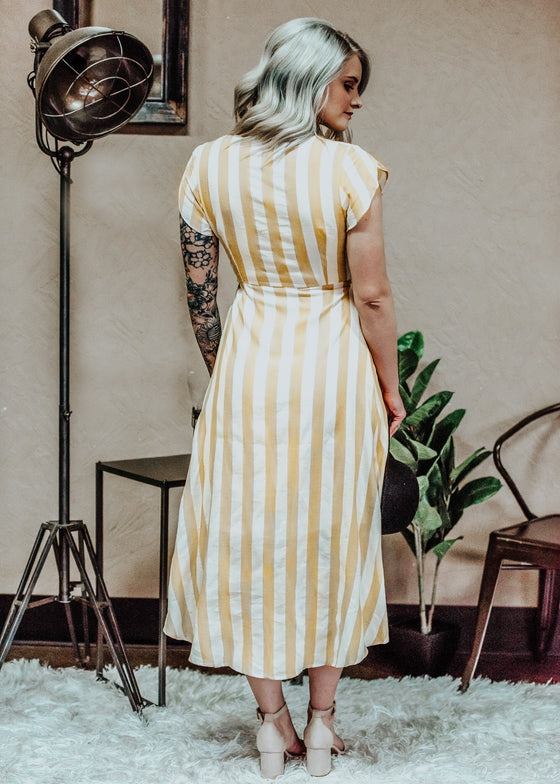 Sarah High Low Yellow Stripe Dress