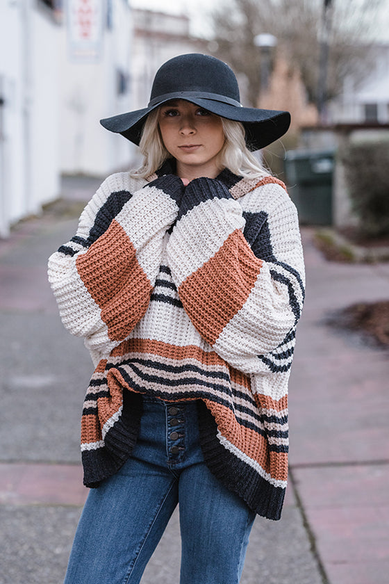 India Matte Chenille Stripe Sweater