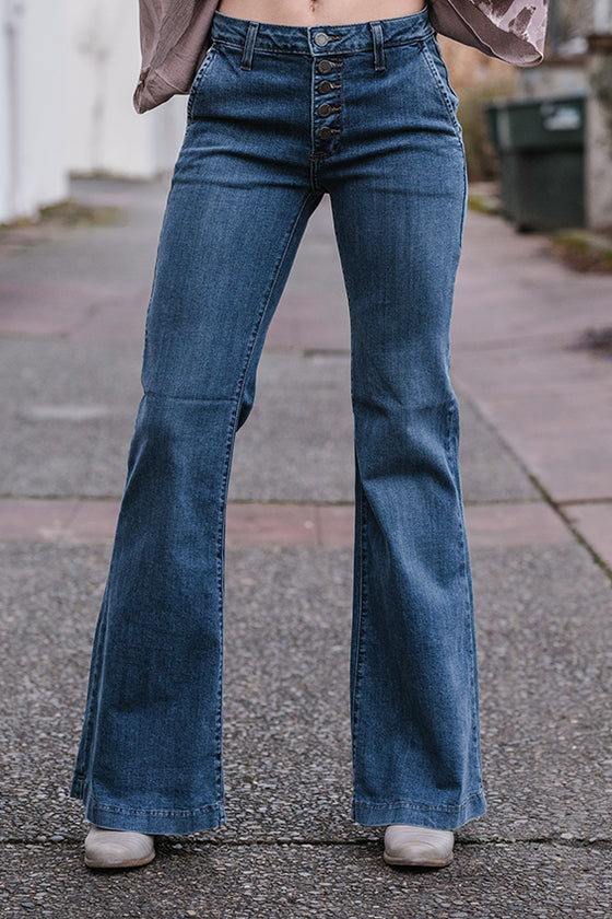 Ivy Button Front Flare Jeans
