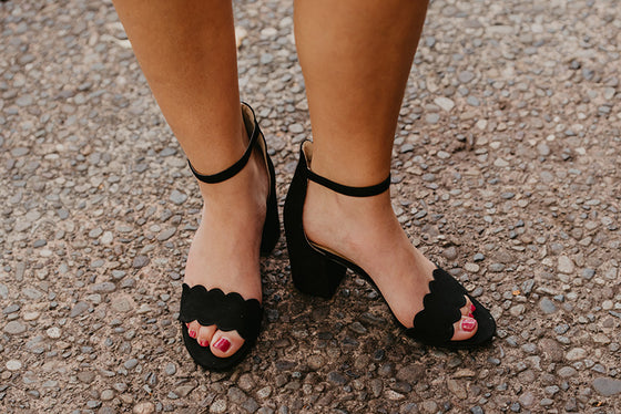Mila Classic Scalloped Heels in Black