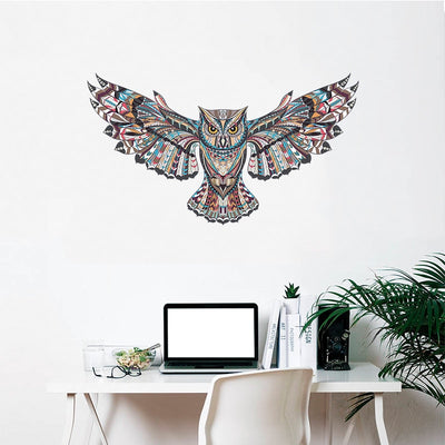 sticker hibou mural multicolor