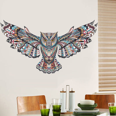 sticker mural animaux hibou multicolor design