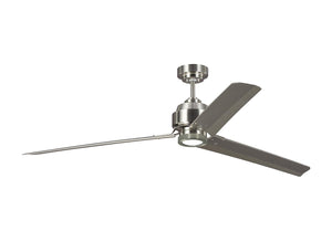 "68"" ARCADE CEILING FAN WITH LIGHTING KIT DAY LIGHT - BRUSHED STEEL FINISH #3ARR68BS"