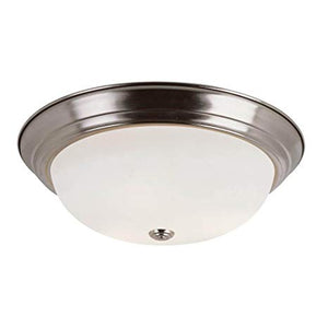 "BOWSERS 11"" BUTTON FROST 2 LIGHTS FLUSH MOUNNT BRUSHED NICKEL #PL-13717BN"