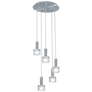 FABIANA 5 LIGHT CHROME & SHINY WHITE TRESTLE LIGHT CEILING LIGHT #90577A