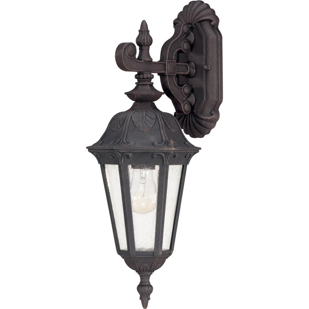 1-LIGHT SMALL OUTDOOR WALL LANTERN IN SATIN IRON ORE FINISH AND SEEDED MIST GLASS #60-2036