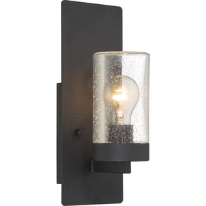 INDIE - 1 LIGHT- SMALL WALL SCONCE - WITH CLEAR SEEDED GLASS - TEXTURED BLACK FINISH #60-6579