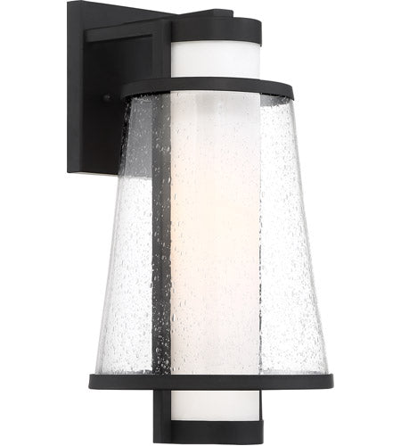 ANAU - 1 LIGHT MEDIUM WALL LANTERN - WITH ETCHED OPAL AND CLEAR GLASS - MATTE BLACK FINISH #60-6602