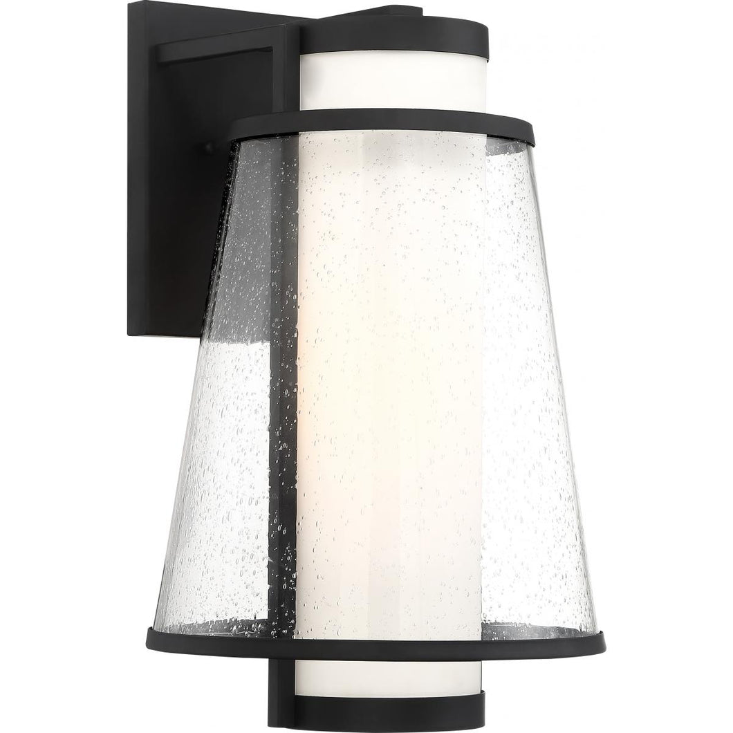 ANAU - 1 LIGHT LARGE WALL LANTERN - WITH ETCHED OPAL AND CLEAR GLASS - MATTE BLACK FINISH #60-6603