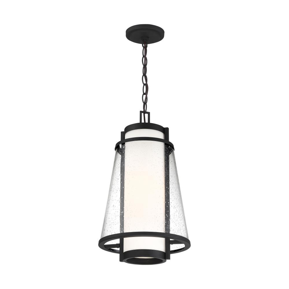 ANAU - 1 LIGHT HANGING LANTERN - WITH ETCHED OPAL AND CLEAR GLASS - MATTE BLACK FINISH #60-6604