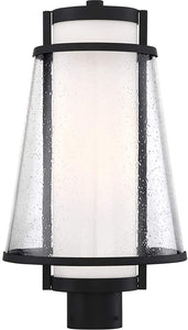 ANAU - 1 LIGHT POST LANTERN - WITH ETCHED OPAL AND CLEAR GLASS - MATTE BLACK FINISH #60-6605