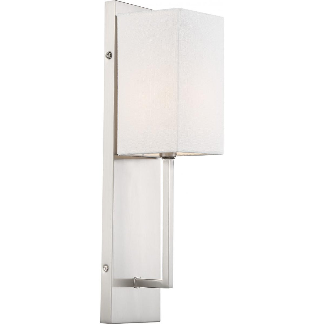VESEY - 1 LIGHT WALL SCONCE - WITH WHITE LINEN SHADE - BRUSHED NICKEL FINISH #60-6691