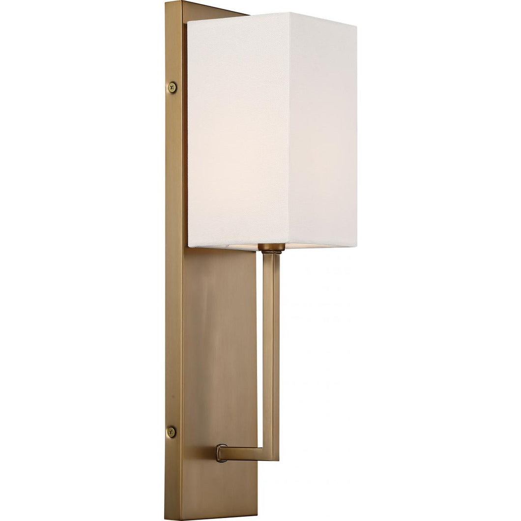 VESEY - 1 LIGHT WALL SCONCE - WITH WHITE LINEN SHADE - BURNISHED BRASS FINISH #60-6692