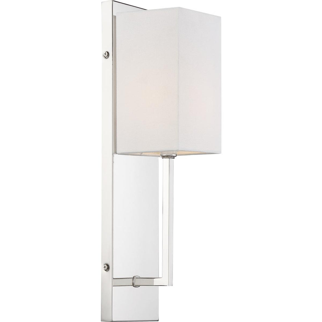 VESEY - 1 LIGHT WALL SCONCE - WITH WHITE LINEN SHADE - POLISHED NICKEL FINISH #60-6693