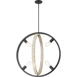 AUGUSTA - 4 LIGHT PENDANT - BLACK WITH GRAY WOOD FINISH #60-6985