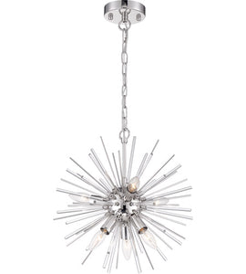 CIRRUS - 6 LIGHT CHANDELIER - WITH GLASS RODS - POLISHED NICKEL FINISH #60-6991