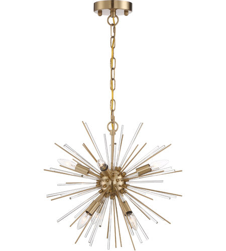 CIRRUS - 6 LIGHT CHANDELIER - WITH GLASS RODS - VINTAGE BRASS FINISH #60-6992