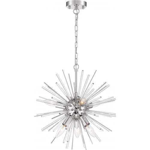 CIRRUS - 8 LIGHT CHANDELIER - WITH GLASS RODS - POLISHED NICKEL FINISH #60-6993