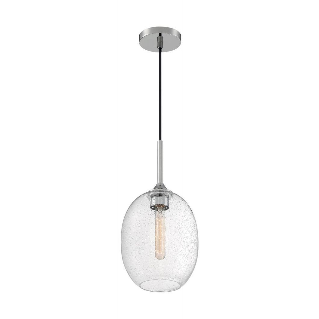 ARIA - 1 LIGHT PENDANT WITH SEEDED GLASS - POLISHED NICKEL FINISH #60-7036