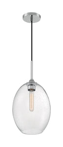 ARIA - 1 LIGHT MEDIUM PENDANT WITH SEEDED GLASS - POLISHED NICKEL FINISH #60-7037