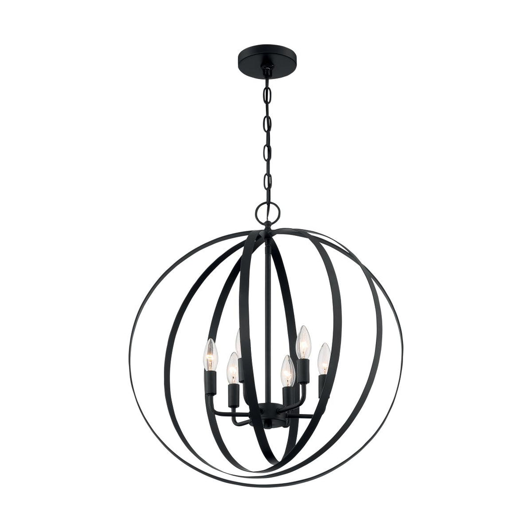 PENDLETON - 6 LIGHT PENDANT WITH- MATTE BLACK FINISH #60-7068
