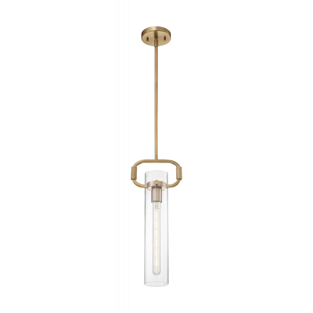 TERESA 1-LIGHT CYLINDER PENDANT WITH CLEAR GLASS - BURNISHED BRASS FINISH #60-7143