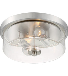 SOMMERSET - 2 LIGHT FLUSH MOUNT WITH CLEAR GLASS - BRUSHED NICKEL FINISH #60-7168