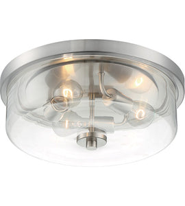 SOMMERSET - 3 LIGHT FLUSH MOUNT WITH CLEAR GLASS - BRUSHED NICKEL FINISH #60-7169