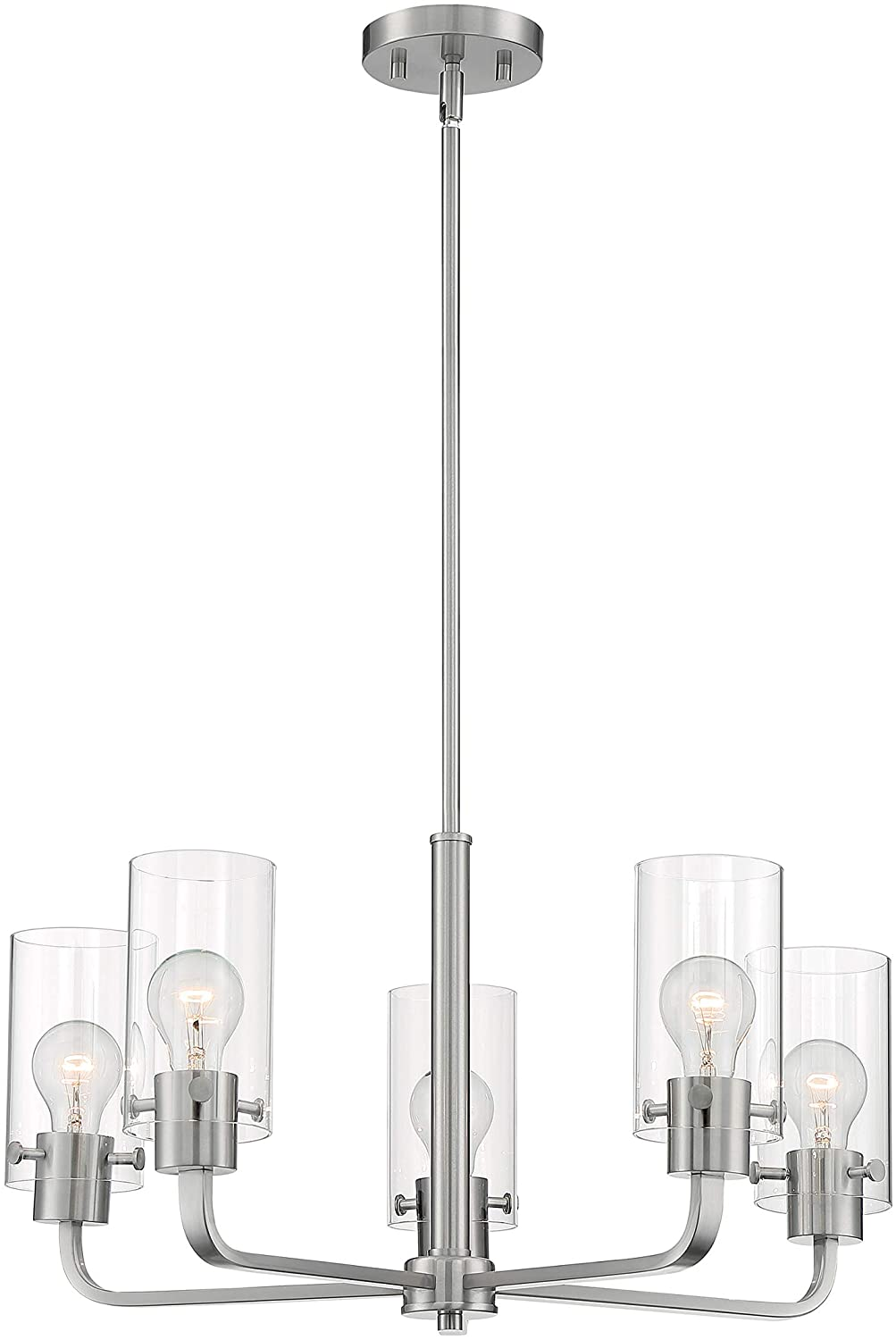 SOMMERSET - 5 LIGHT CHANDELIER WITH CLEAR GLASS - BRUSHED NICKEL FINISH #60-7175