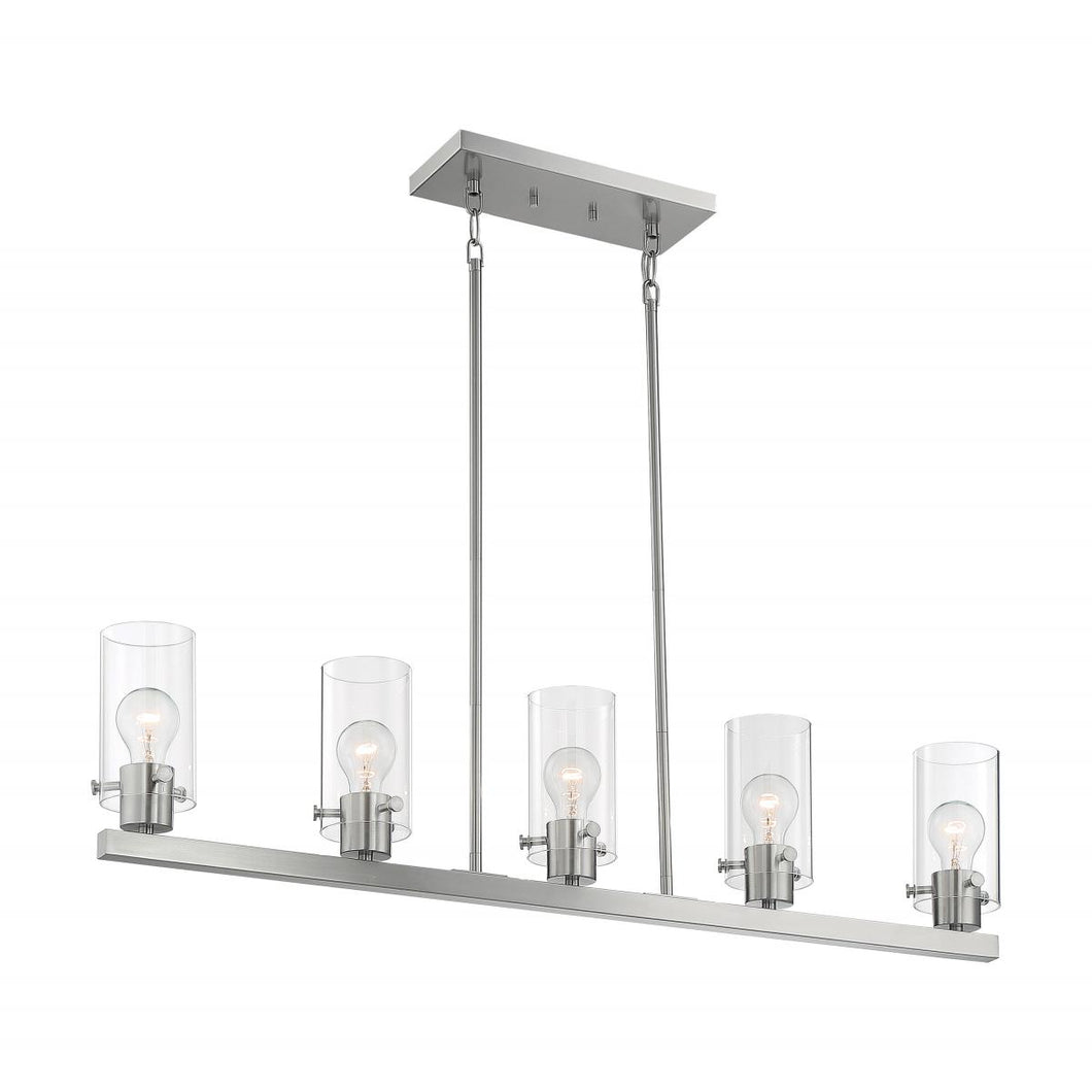SOMMERSET - 5 LIGHT ISLAND PENDANT WITH CLEAR GLASS - BRUSHED NICKEL FINISH #60-7176