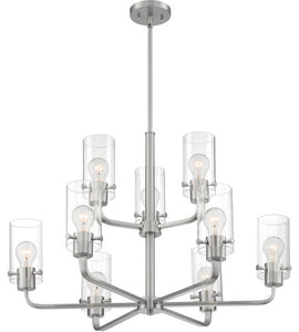 SOMMERSET - 9 LIGHT CHANDELIER WITH CLEAR GLASS - BRUSHED NICKEL FINISH #60-7179