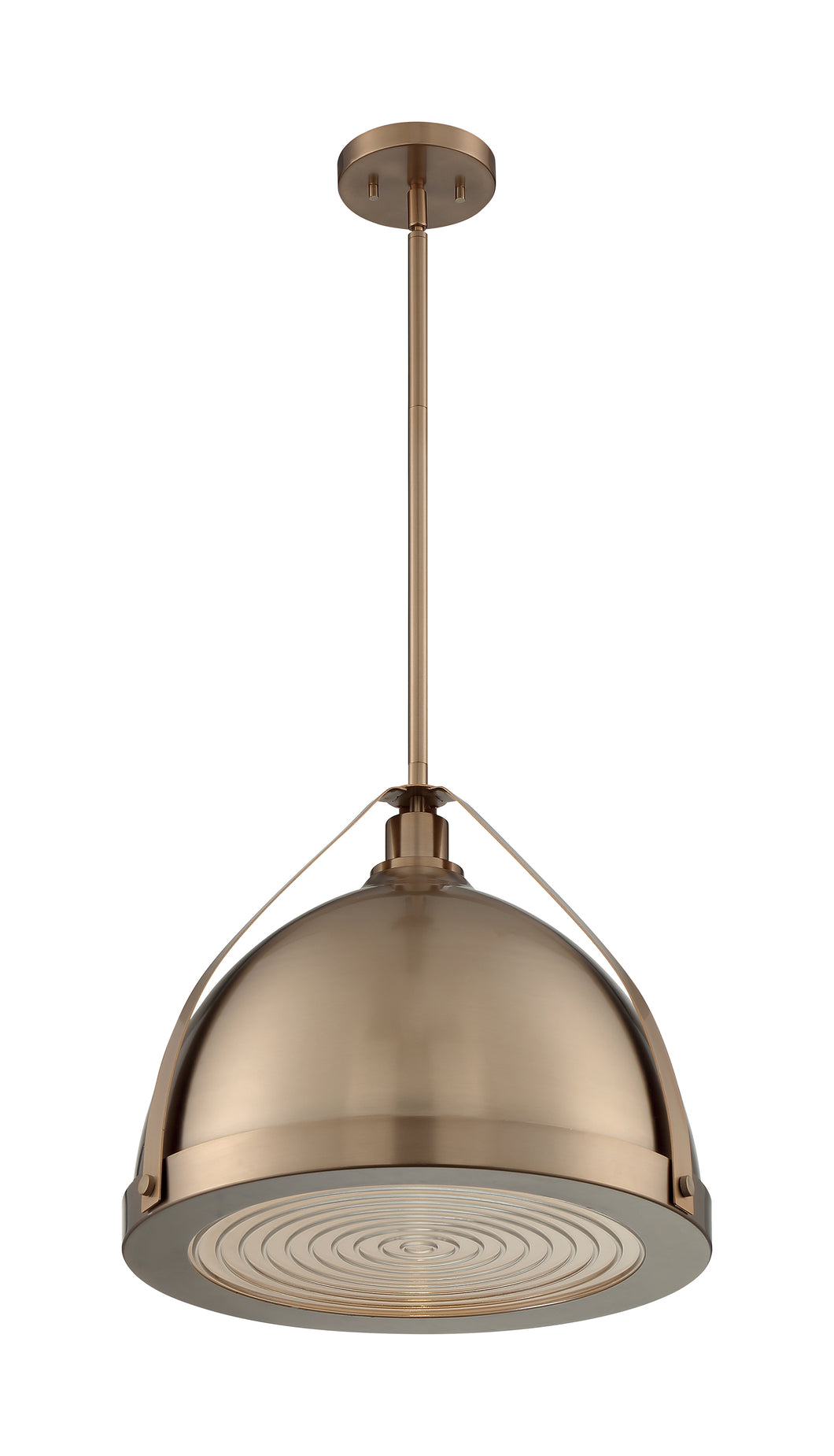 BARBETT - 1 LIGHT LARGE PENDANT WITH FRESNEL GLASS - BURNISHED BRASS FINISH #60-7203