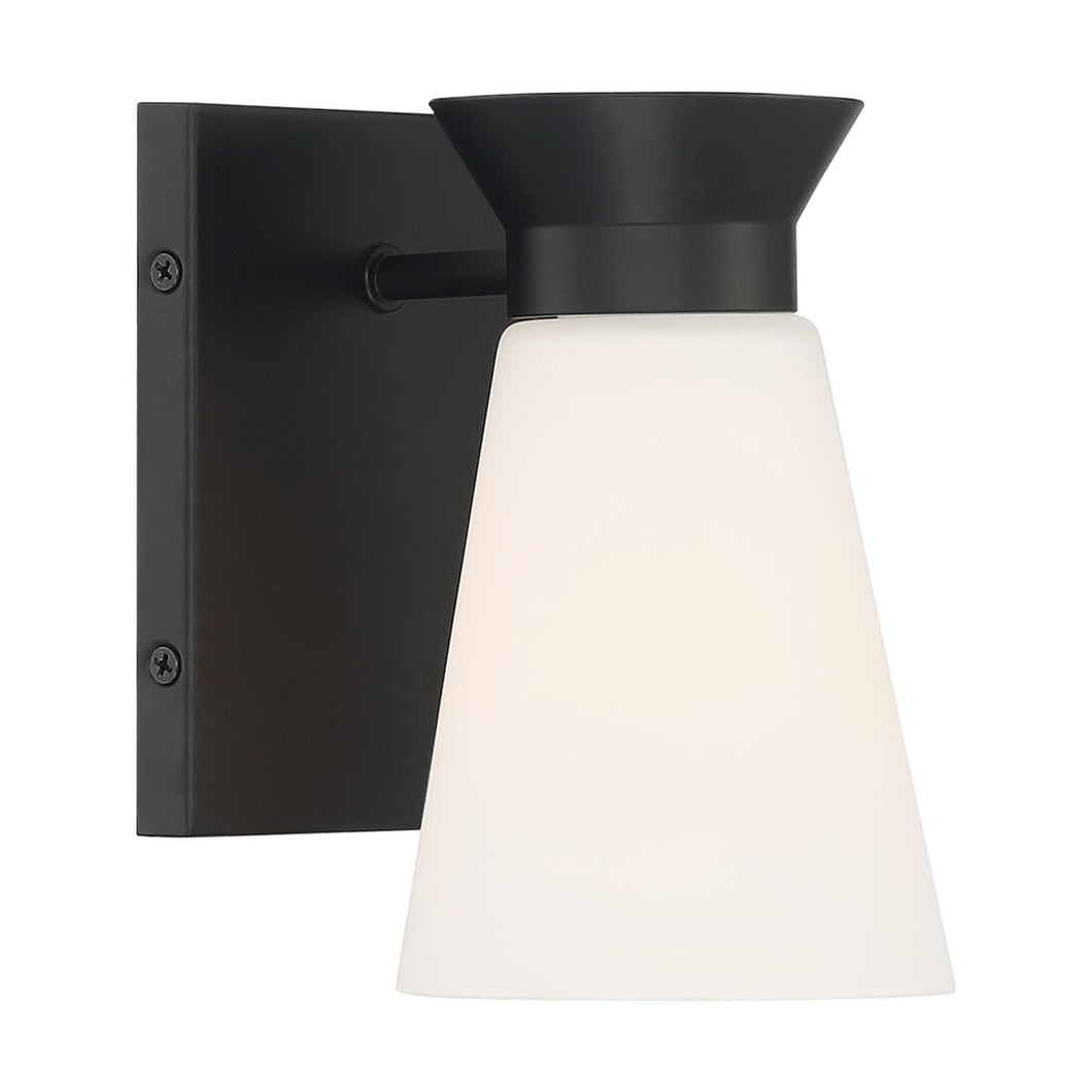 CALETA - 1 LIGHT SCONCE WITH CYLINDRICAL GLASS - BLACK FINISH #60-7311