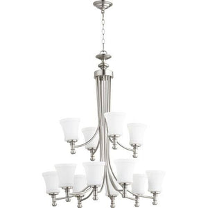 "ROSSINGTON 12-Light 35"" SATIN NICKEL CHANDELIER CEILING LIGHT #6122-12-65"