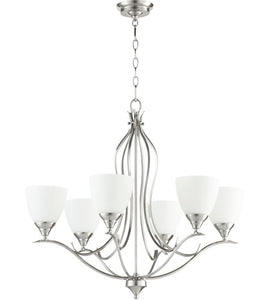 FLORA 6 LIGHT 29 INCH SATIN NICKEL CHANDELIER CEILING LIGHT #614-6-65