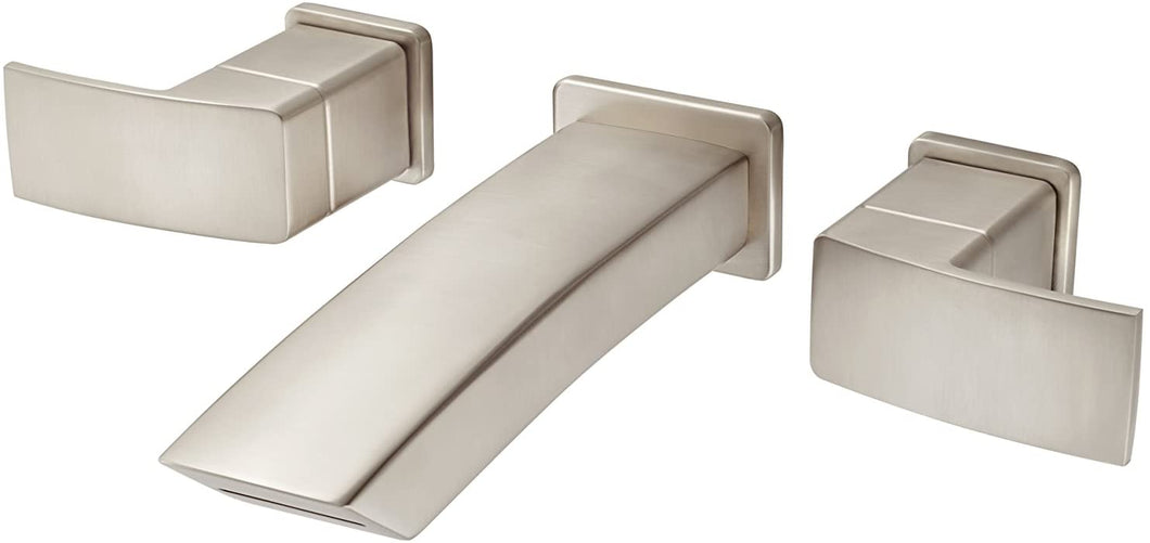 KENZO 2-HANDLE WALL MOUNT BATHROOM FAUCET BRUSHED NICKEL #LG49-DF3K