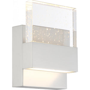 ELLUSION - LED SMALL WALL SCONCE - WITH SEEDED GLASS - POLISHED NICKEL FINISH #62-1501