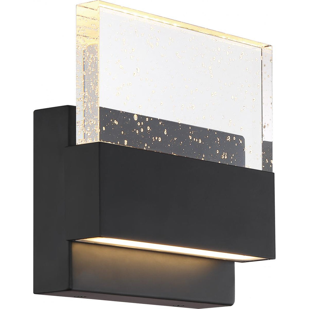 ELLUSION - LED MEDIUM WALL SCONCE - WITH SEEDED GLASS - MATTE BLACK FINISH #62-1512
