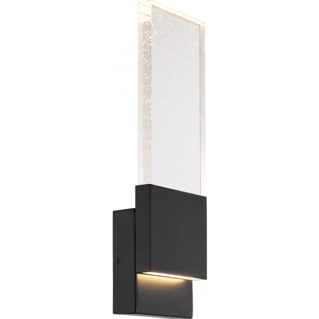 ELLUSION - LED LARGE WALL SCONCE - WITH SEEDED GLASS - MATTE BLACK FINISH #62-1513