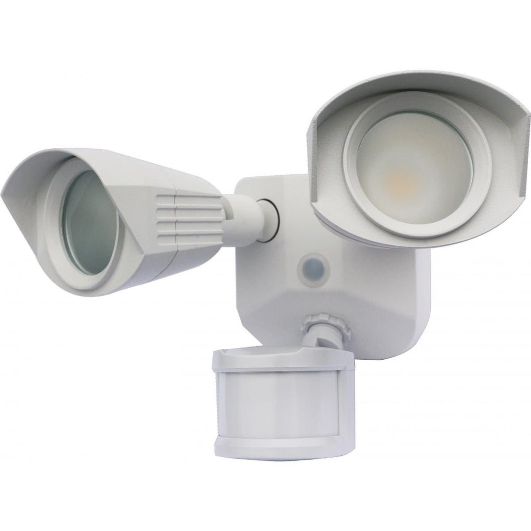 LED SECURITY LIGHT - DUAL HEAD - WHITE FINISH - 4000K - WITH MOTION SENSOR - 120V #65-217