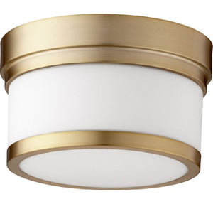 "CELESTE 9"" 1 LIGHT AGED BRASS FLUSH MOUT FIXTURE #3509-9-80"