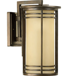 "LARSON 1-LIGHT 17"" OILED BRONZE OUTDOOR WALL LANTERN AMBER SCAVO #7916-9-86"
